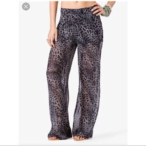 FOREVER21 Sheer Chiffon Leopard Wide Leg Pants - L